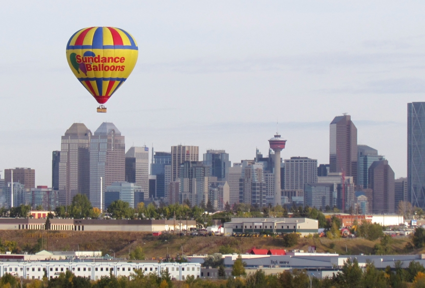 Picture of flight above calgary