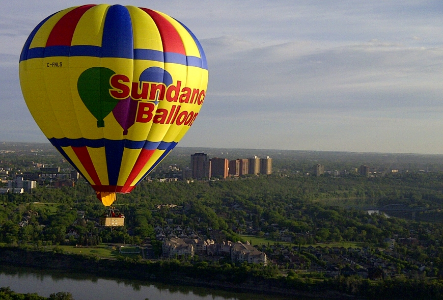 Picture of Sundance Hot Air balloon above city
