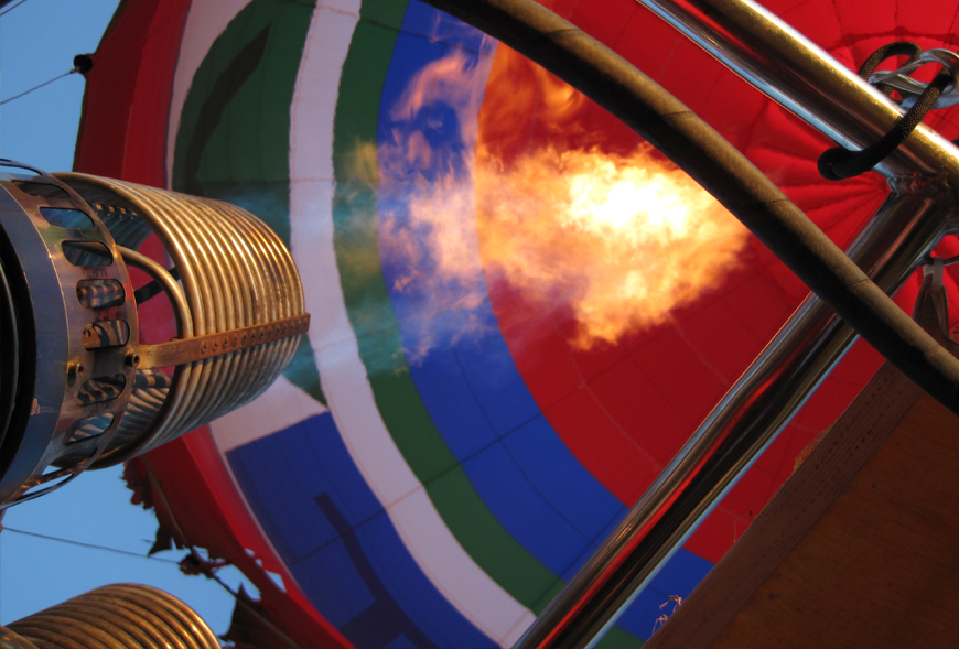 Picture of a hot air balloon engine firing